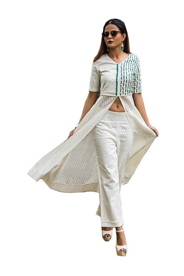 Pic 3- White straight fit palazzo pants with a cotton flowing top